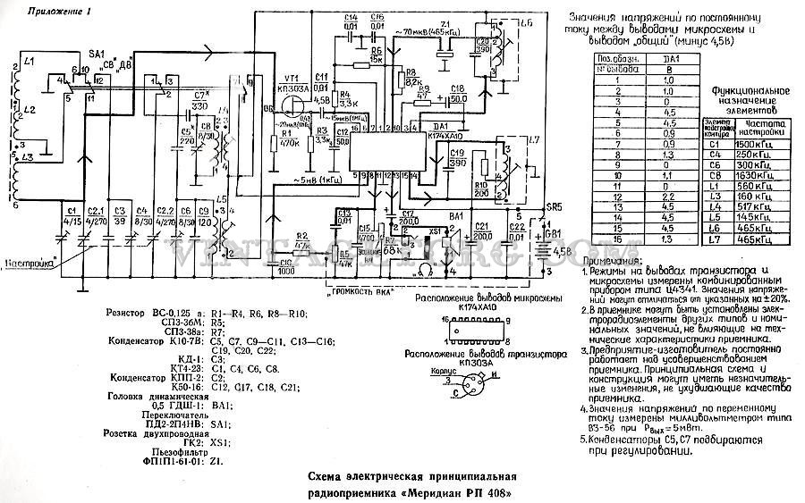 схема принципиальная приемника меридиан 246