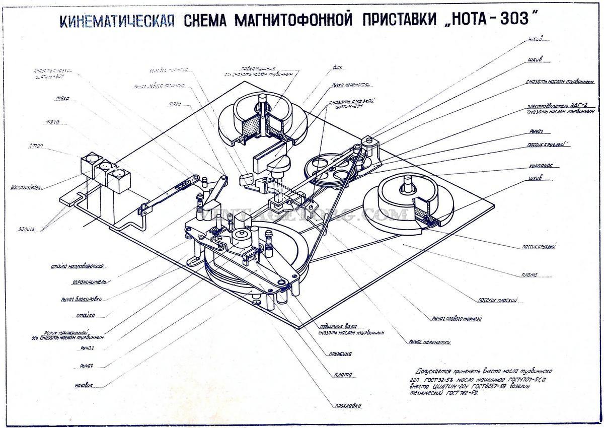 схема магнитофона приставки нота
